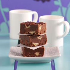 """Three-Chocolate Fudge Recipe from Taste of Home -- shared by Betty Grantham, Hanceville, Alabama.""""""""I've tasted lots of fudge and this is the best fudge I've ever Dessert Dessert Fudge Recipes, Candy Recipes, Cookie Recipes, Dessert Recipes, 100 Calories, Christmas Treats, Christmas Baking, Just Desserts, Delicious Desserts"""