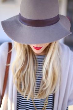 Mary Seng ~ Grey felt hat and bright cherry lip ~ happilygrey.com