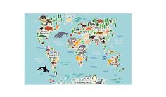 MONOQI | Mapamundi Animals Leinwand