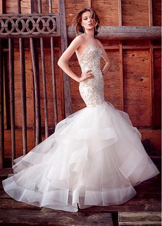 Gorgeous Tulle & Organza Sweetheart Neckline Mermaid Wedding Dresses with Beaded Embroidery