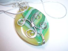 Wire Wrapped Green Onyx Agate Pendant Necklace