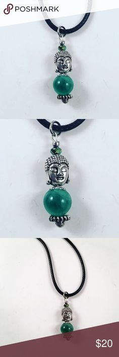 women amulet jade gemstone and buddha necklace Women necklace. Comes with a Black Italian leather cord. Adjustable 16 to 20 inch . Handmade by me , never worn by anyone. Made with jade and little green crystal . Tibetan silver post and buddha charm. I ship fast !!✈️ Jewelry Necklaces