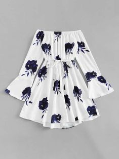 Shop Floral Print Flounce Sleeve Self Knot Dress online. SheIn offers Floral Print Flounce Sleeve Self Knot Dress & more to fit your fashionable needs. Teenage Outfits, Teen Fashion Outfits, Mode Outfits, Outfits For Teens, Girl Outfits, Fashion Clothes, College Outfits, Dress Clothes, Dress Fashion
