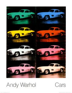 300 SL Coupe, 1954 Collectable Print by Andy Warhol Pop Art Posters, Poster Prints, Andy Warhol Artist, Pittsburgh, Santa Giulia, Creation Art, Collage, American Artists, Rainbow Colors