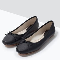 ZARA - SHOES & BAGS - LEATHER BALLERINA FLATS