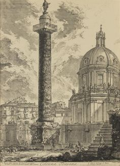 Giovanni Battista Piranesi, (Italian, 1720-1778), Colonna Trajana (from Ved    leslie hindman auctioneers