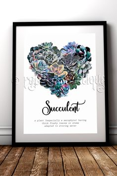Beautifully Illustrated succulent fine art print for the green fingered among us #RockChicBoutique #BotanicalArt #Succulents #WallArt #HomeDecor #SucculentArt #SucculentLovers #SucculentDecor