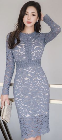 StyleOnme_Full Lace Slim Fit Dress #feminine #blue #lace #dress #koreanfashion #kstyle #kfashion #seoul #elegant #datelook