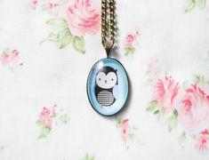 Owl Necklace, Owl Pendant, Cute Owl Necklace, Cute Necklace, Antique Bronze, Vintage Brass, Kawaii Necklace, Owl Cabochon, Glass Cabochon