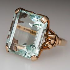 22 Carat Emerald Cut Aquamarine Vintage Cocktail Ring Solid 10K Yellow Gold