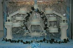 quinceanera cake - This is the quinceanera cake I did for my best friend's daughter on her 15th birthday. There's a total of 15 cakes, chocolate, yellow, cherry, banana and strawberry all frosted in vanilla/almond buttercream and decorated with cornelli lace. The party was a cinderella theme so we rented a custom carriage cake stand from a local store.