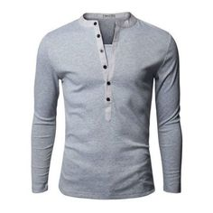 2d8d50ae7 Doublju Mens Basic Slim Fit Long Sleeve Henley Shirts - Walmart.com Long  Sleeve Henley
