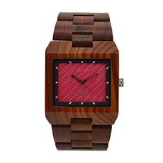 Biutee Handmade Square Red Sandalwood Case and Band Quartz Watch with Natural Wood in Red ** Read more  at the image link.