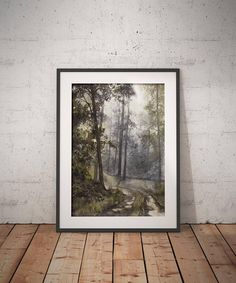 High-quality art print of the watercolor landscape painting showing wet forest path surrounded by trees.  The original moody watercolor painting of Wet Morning in the Forest is available for sale. You can purchase it at the link below.
