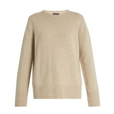 The Row Sibel wool and cashmere-blend sweater (€685) ❤ liked on Polyvore featuring tops, sweaters, woolen sweater, wool tops, slouchy tops, the row sweater and brown sweater
