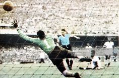 World Cup Final, 1950, Brazil, Maracana Stadium, Rio De Jainero, Brazil 1 v Uruguay 2, 16th July, 1950, Juan Schiaffino scores Uruguay's first goal past Brazilian keeper Barbosa