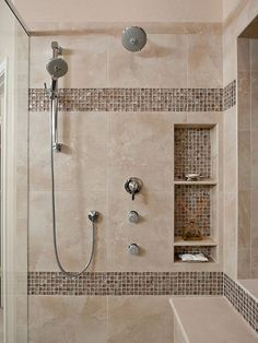 Beautiful Small Bathroom Shower Remodel Ideas - Page 45 of 76 Small Bathroom With Shower, Beige Bathroom, Shower Niche, Bathroom Design Small, Master Bathroom, Bathroom Ideas, Shower Ideas, Bathroom Designs, Shower Designs