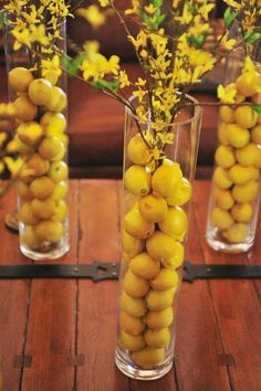 Fruit centerpieces with lemons and branches