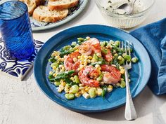 We added shrimp to this favorite Southern side dish, turning it into a crowd-pleasing main dish. Corn Succotash, Succotash Recipe, Seafood Recipes, Cooking Recipes, Dinner Recipes, Southern Side Dishes, Beach Meals, Entrees, Main Dishes