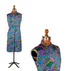 8cbaabd19175 Vintage 1960's Sue Brett Silk Rainbow Abstract Op Art Psychedelic Button  Down Shift Dress S M