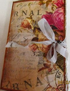 "Vintage Love Story Junk Journal. Measures: 5 1/2""X9"" . Cover made from 9X12 Clasp Envelope. 3 Signatures sewn in with Pamphlet Stitch using Crochet Cotton. U..."
