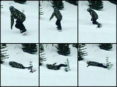 """Snowboarding Reedus """"crashes"""" into a baby tree."""