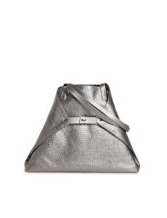 Medium Shoulder Bag in Hammered Leather and Metal Look You Bag, Clamp, Graphite, Calf Leather, 10 Years, Convertible, Calves, Pouch, Product Launch