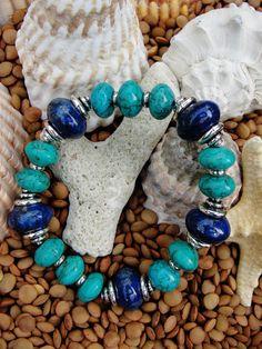 big beads - Lapis Lazuli and Turquoise Bracelet