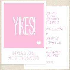 fun pale pink, blush, wedding invite, £1.60, #weddinginvitation
