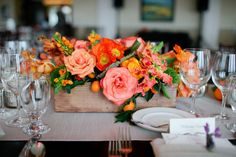 I never was aware of my complete and total adoration for all things orange until this wedding sashayed into my life. A collaboration between classic details byLVL Weddings & Events, holy-cow gorgeous bouquets and the like byInviting Occasionand photography. Photography so