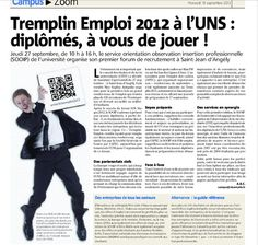 Article sur le tremplin Emploi 2012 auquel a participé ALUMNICE.