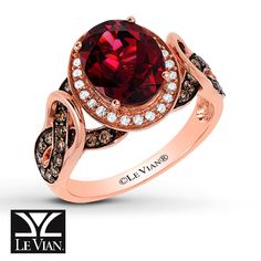Le Vian Chocolatier® Raspberry Rhodolite® ring in 14K Strawberry Gold® accented with Chocolate Diamonds® and Vanilla Diamonds®
