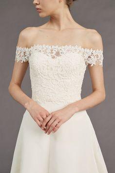 """""""Tilden"""" A Line Wedding Dress: Off the Shoulder Bodice"""