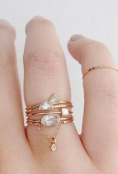 Geometric diamonds add extra coolness to these little layered rings.