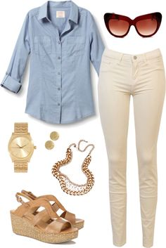 """""""cream jeans   outfit two"""" by boxandbrownie on Polyvore"""