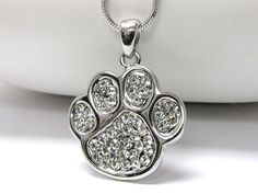 Cute White Gold Plated Plating Crystal Stud Poodle Dog Puppy Paw Charm Necklace