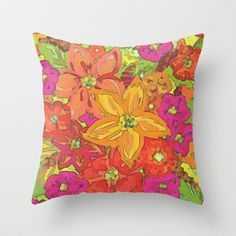 Autumn Floral Throw Pillow by Lisa Argyropoulos - $20.00