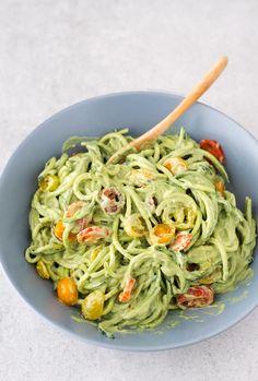Zucchini Noodles   Avocado Sauce   Vegan   Zoodles   HarperandHarley