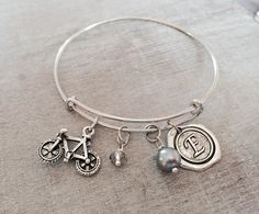 Silver Plated Charm Bracelet Bicycle Bracelet Bicycle by SAjolie