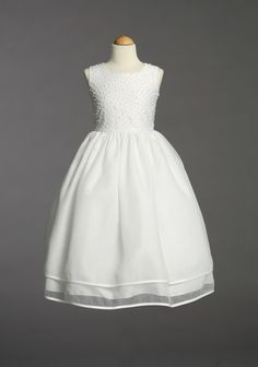 Girls First Communion Two Layer Organza and Pearl  Dress