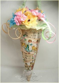 Spring Tussie Mussie in Paper Cone With Cardboard Swirls