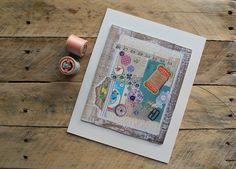 Vintage stitch collage giclee print