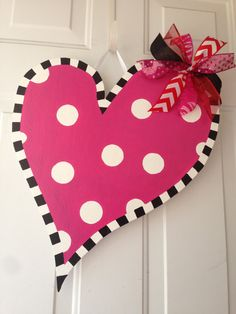Hand painted Wooden Heart Valentine Door Hanger Wreath Craft  Valentine's Day Polka Dots White Personalized on Etsy, $35.00