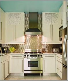 blue ceiling and  metallic backsplash.  LOVE the color on the ceiling!