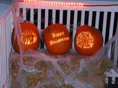 Ghosts, Happy Halloween and Spider Web Pumpkins