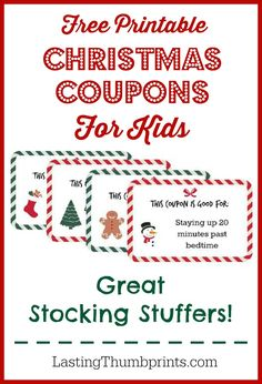 Christmas Coupons for Kids - Great last minute stocking stuffers!