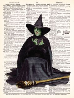 Wicked Witch Of The West Oz - Buy 2 Get 1 FREE - Vintage Dictionary Print Vintage Book Print Page Art Upcycled Vintage Book Art. $8.98, via Etsy.