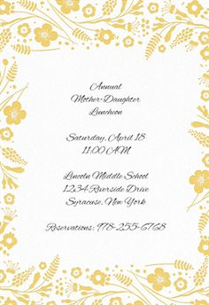 """""""Flowers and Ferns Frame""""  printable invitation template. Customize, add text and photos. Print or download for free!"""