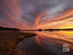 Sunset over a Chesapeake Bay Shoreline Photographic Print by Skip Brown at Art.com