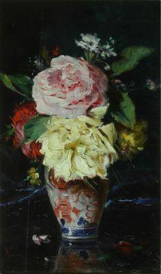 Vase with Flowers - Theodor Aman Realistic Paintings, Colorful Paintings, Flower Vases, Flower Art, Art Database, Autumn Trees, Botanical Art, Traditional Art, Painting Inspiration